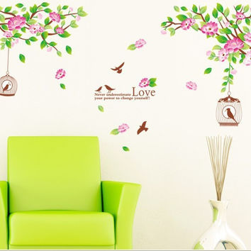 Wall Sticker Art Mural Hibiscus Birds Home Decor Removable Vinyl Decals DIY SM6