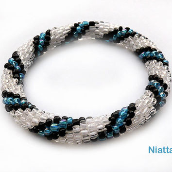 Blue Black White Striped Roll On Summer Bracelet Crochet Bead Rope Niatta