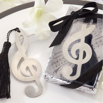fashion musical note bookmark for wedding decoration baptism favors and gifts recuerdos para bautizo baby shower Free shipping