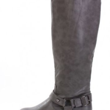Grey Faux Leather Buckle Strap Knee High Riding Boots Boots Catalog:women's winter boots,leather thigh high boots,black platform knee high boots,over the knee boots,Go Go boots,cowgirl boots,gladiator boots,womens dress boots,skirt boots,pin