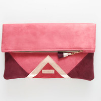 CARRIER 34  / Large leather  fold over daily clutch bag -  Ready to Ship