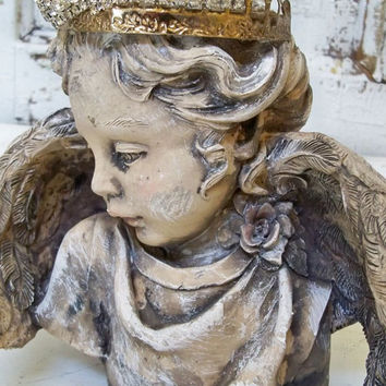 Cherub angel statue head fragment with hand made crown beautiful French chic piece vignette decor Anita Spero