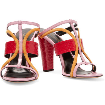 Lonni color-block paneled leather mules | Oscar de la Renta | UK | THE OUTNET