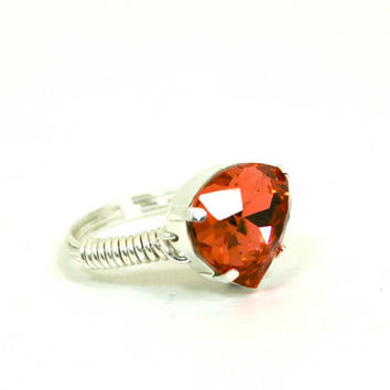 Swarovski Pear Shaped Ring Padparadscha Peach Silver Wire Wrapped Bling Ring Size 9