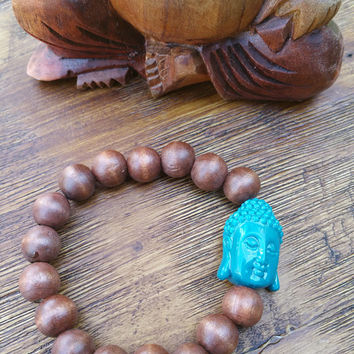 Original Collection- Turquoise Buddha Charm/Wood Beaded Hand Made Bracelet