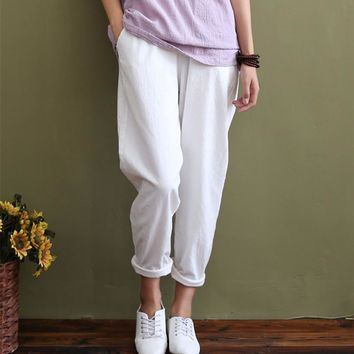 Solid Elastic waist Linen cotton White Women Pants Loose Casual Summer Harem Pants Women Brand Design Full length Trousers 5044