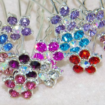 5pcs Wedding  Bridal  Hairpins Flower Crystal Rhinestone Hair Clips Bridesmaid Hair Jewelry AccessoriesMulticolorfree delivery