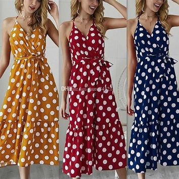 Sexy V Neck Polka Dot Yellow Summer Dress Women 2019 Casual Ruffle Midi Dress Elegant Holiday Beach Female Vestidos