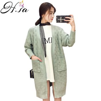 Long Sweater Poncho Winter Open Stitch Knitted Female Cardigans V neck Pocket Long Sweater