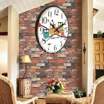Large Wall Clock Owl Vintage Rustic Shabby Home Office Cafe Xmas Decoration Art