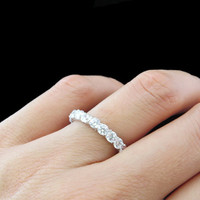 SALE! 2 Carat Eternity Cushion Set Wedding Band Round, 3mm Engagement Ring, Man Made White Diamond, Bridal, Sterling Silver, Promise Ring