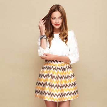 White Sleeve Shirt with Printed Skirt