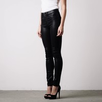 [High Waisted Skinny] High Waisted Skinny Jeans in Black Coated Powerstretch