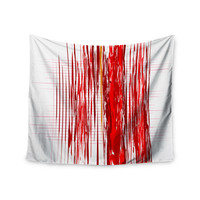 "Maria Bazarova ""Red Abstraction"" Red White Wall Tapestry"