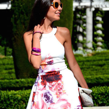 Floral Dress Spring - White Sleeveless Floral Painted Patterns Print Dress