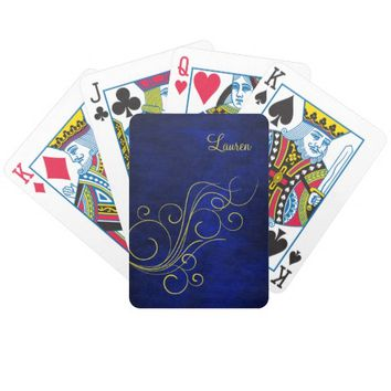 Elegant Blue Gold Swirl Personalized Bicycle Playing Cards