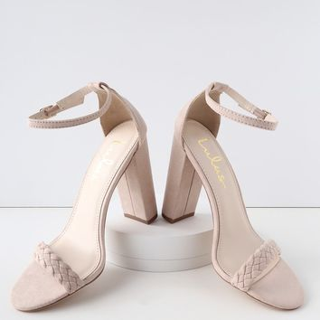 Taylor Braided Blush Suede Ankle Strap Heels