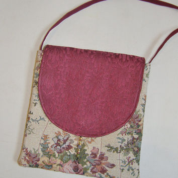 Cross Body Purse - Victorian Floral Tapestry