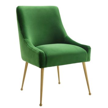 Beatrix Green Velvet Side Chair With Gold Legs