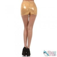 Sequin High Waisted Shorts - Gold