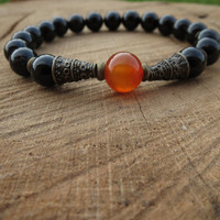 Carnelian Mala, Guru Bead Mala, Black Onyx Beaded Wrist Mala, Positive Energy Protection, Spiritual Gifts, Healing Syones, Energy Booster
