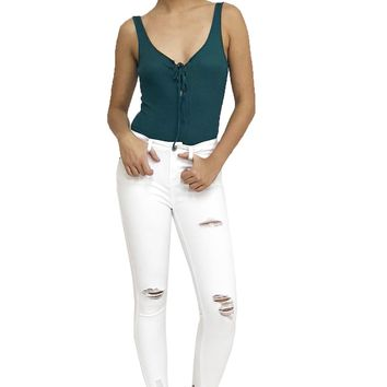White Ripped Skinny Jeans 5 Pocket Mid Rise Jeggings