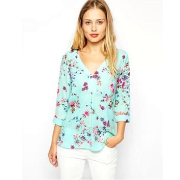 Women's 3/4 Long Sleeve Blouse Casual Loose Shirt Floral Print Tops