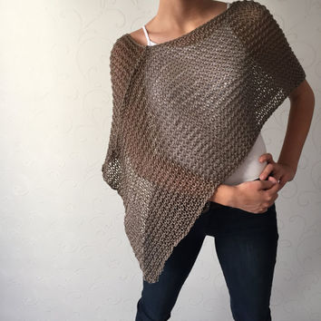 Christmas gift poncho, cotton handknit shrug, capelet, top, shawl, fall poncho, autumn womens wear, light poncho, gift for her