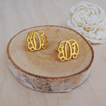 Monogram Stud Earrings-Initial Stud Earrings-Personalized Monogram Earrings-Name Stud Earrings-Bridesmaid-MOTHER GIFT