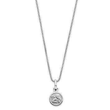 Sterling Silver Children's Angel Disc Necklace With Pink Gift Pouch