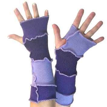 Purple Arm Warmers, Upcycled Clothing, Purple Fingerless Gloves, Upcycled Arm Warmers, OOAK Arm Warmers,  Handmade Arm Warmers, Gift for Her