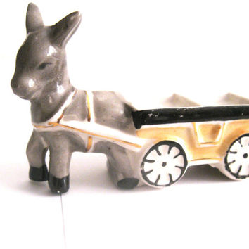 Small Draft Horse with Cart Figurine Made in Japan