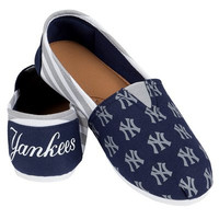 New York Yankees Official MLB Womens Stripe Canvas Slip-on Shoes