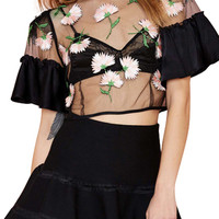 Ruffled Short Sleeve Embroidery Mesh Cropped Top