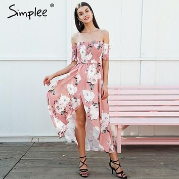 Simplee Strapless summer style long dress Women high split elastic floral maxi dress Elegant chiffon boho causal dress vestidos