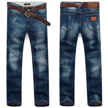 Men's Dark Blue Straight Jeans With Small Rips