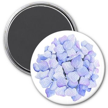 Pretty Watercolor Blue Hydrangea Flower Magnet