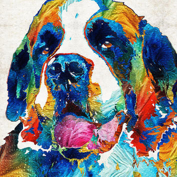 Saint Bernard Art PRINT Colorful Dog Animal Rainbow Pet Primary Color Funny St. Doggies Daycare Cute Big Large Breed CANVAS Veterinarian