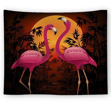 Orange Moon Flamingo Tapestry