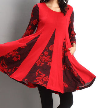 Reborn Collection Red Floral Scoop Neck Swing Dress | zulily