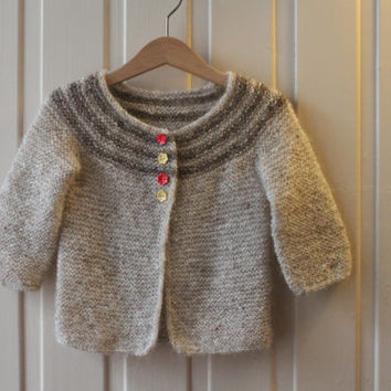 Baby sweater for 1-2 year old. Light grey. Handmade from Icelandic wool. Hand knitted