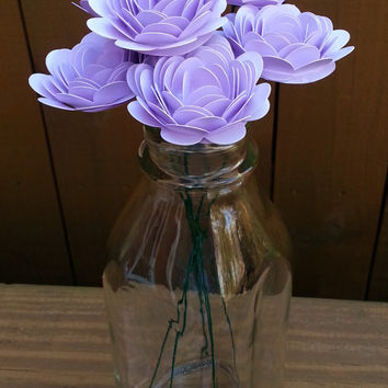 Paper Flower Bouquet - 6 Lavender Purple Roses - Handmade Paper Flowers for Brides, Weddings, Showers, Birthdays