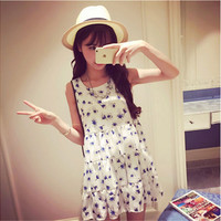 Xiaomei home sweet flowers chiffon sleeveless dress
