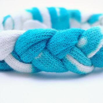 Fabric Braided Bracelet Woven Bleached Recycled T Shirt Blue