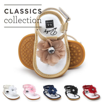 2017 New Pu leather floral Baby sandals T style Baby moccasins child Summer girls sandals hard rubber sole Sneakers Infant shoes
