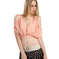 Pink Chiffon Spaghetti Strap Ruched Ruffled Cropped Camisole Cold Shoulder Cut out Backless Short 2016 Spring Summer Women Top