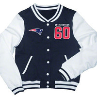 New England Patriots Women's Navy French Terry Varsity Jacket