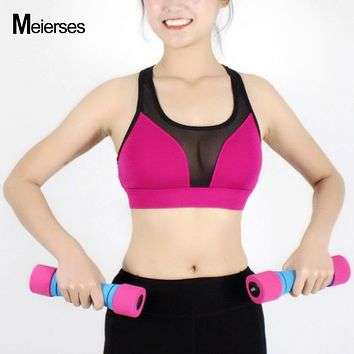 MEIERSES Sexy Mesh Patchwork Athletic Vest Fitness Workout Sports Bra Yoga Running Crop Top Breathable Shockproof Active Wear