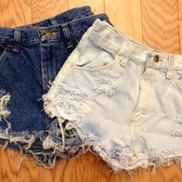 Plain Distressed High Waisted Shorts from ShopWunderlust