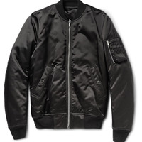 Rick Owens - Down-Filled Satin Bomber Jacket | MR PORTER